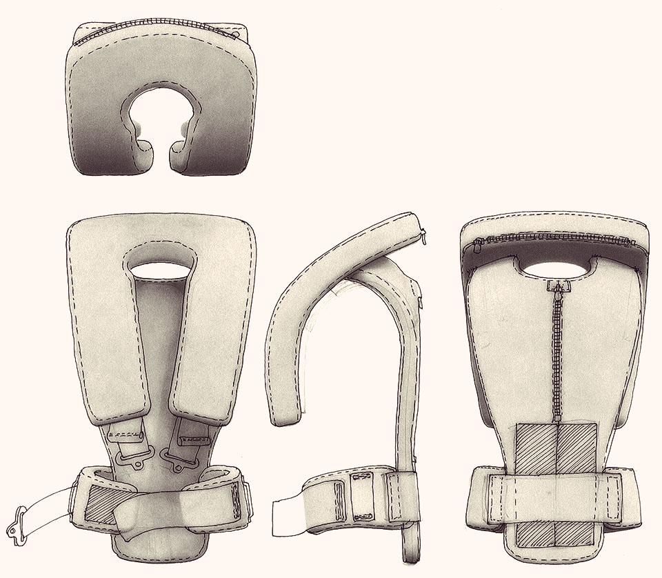 Industrial Design Sketches for Water Jetpack Floatation safety