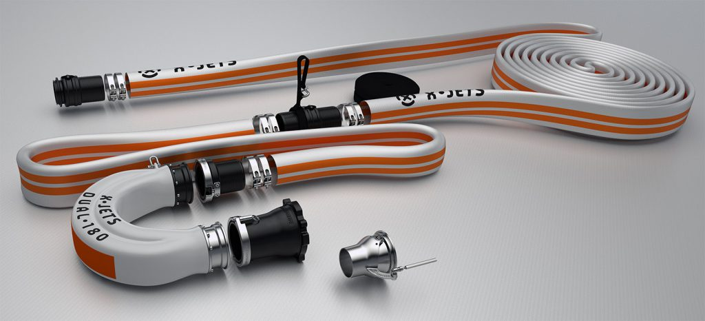 Hydroflight and hydrosport power system for conversion of a personal watercraft, aka jet ski, into a water thrust powered flight platform. The most technically advanced water thrust system in the sport. X offers several different configuration to meet your performance needs.